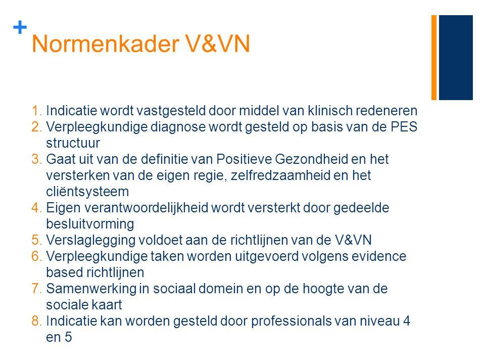 + Normenkader V&VN 1.Indicatie wordt vastgesteld door middel van klinisch redeneren 2.Verpleegkundige diagnose wordt gesteld op basis van de PES struc