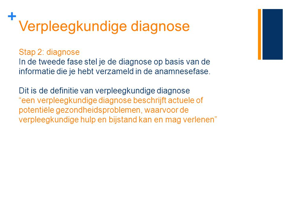 + Verpleegkundige diagnose Stap 2: diagnose In de tweede fase stel je de diagnose op basis van de informatie die je hebt verzameld in de anamnesefase.
