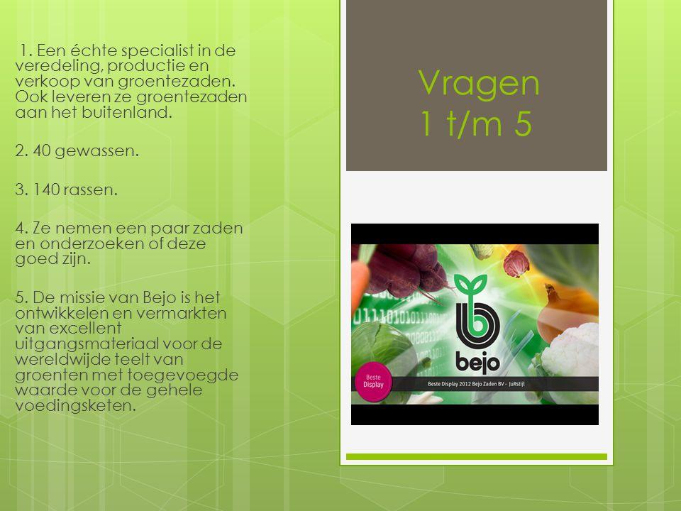 Vragen 1 t/m 5 1. Een échte specialist in de veredeling, productie en verkoop van groentezaden.