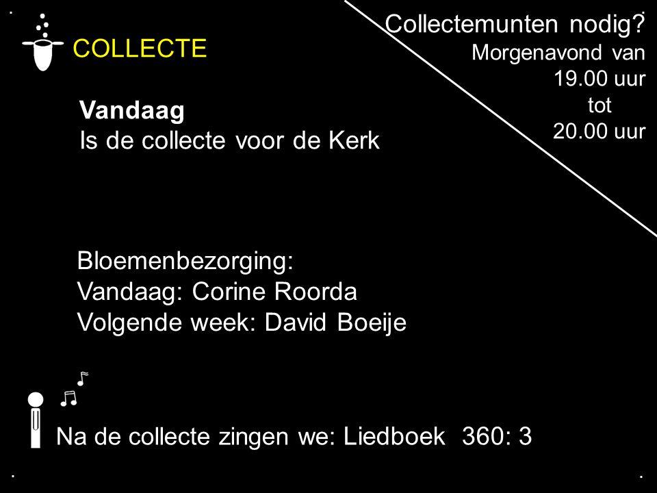 .... COLLECTE Vandaag Is de collecte voor de Kerk Bloemenbezorging: Vandaag: Corine Roorda Volgende week: David Boeije Na de collecte zingen we: Liedb