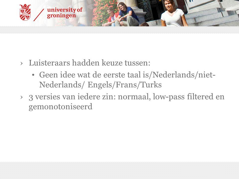›Luisteraars hadden keuze tussen: Geen idee wat de eerste taal is/Nederlands/niet- Nederlands/ Engels/Frans/Turks ›3 versies van iedere zin: normaal,