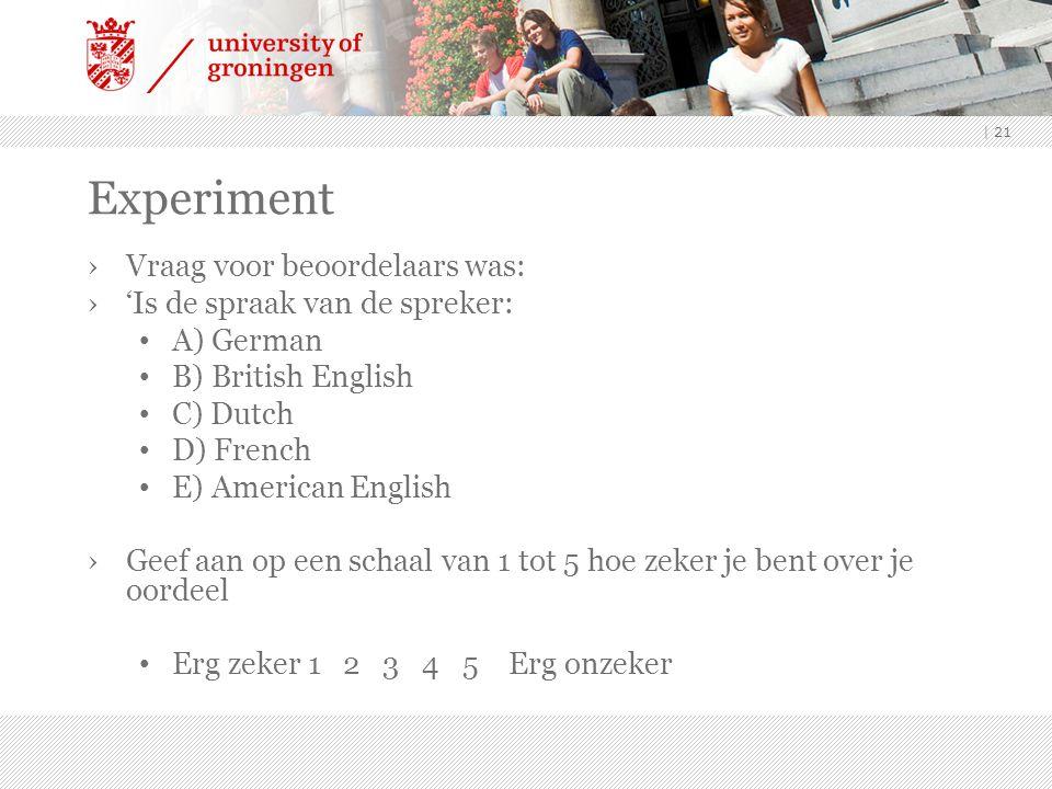 | 21 Experiment ›Vraag voor beoordelaars was: ›'Is de spraak van de spreker: A) German B) British English C) Dutch D) French E) American English ›Geef