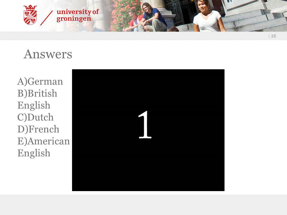 | 25 Answers A)German B)British English C)Dutch D)French E)American English