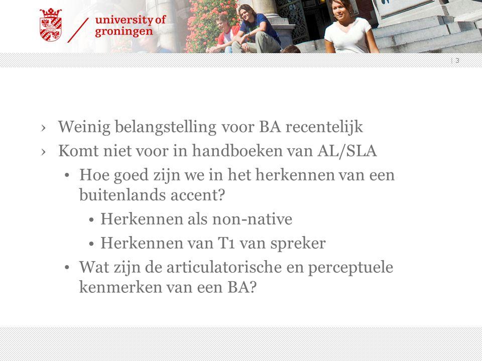 ›Weinig belangstelling voor BA recentelijk ›Komt niet voor in handboeken van AL/SLA Hoe goed zijn we in het herkennen van een buitenlands accent? Herk