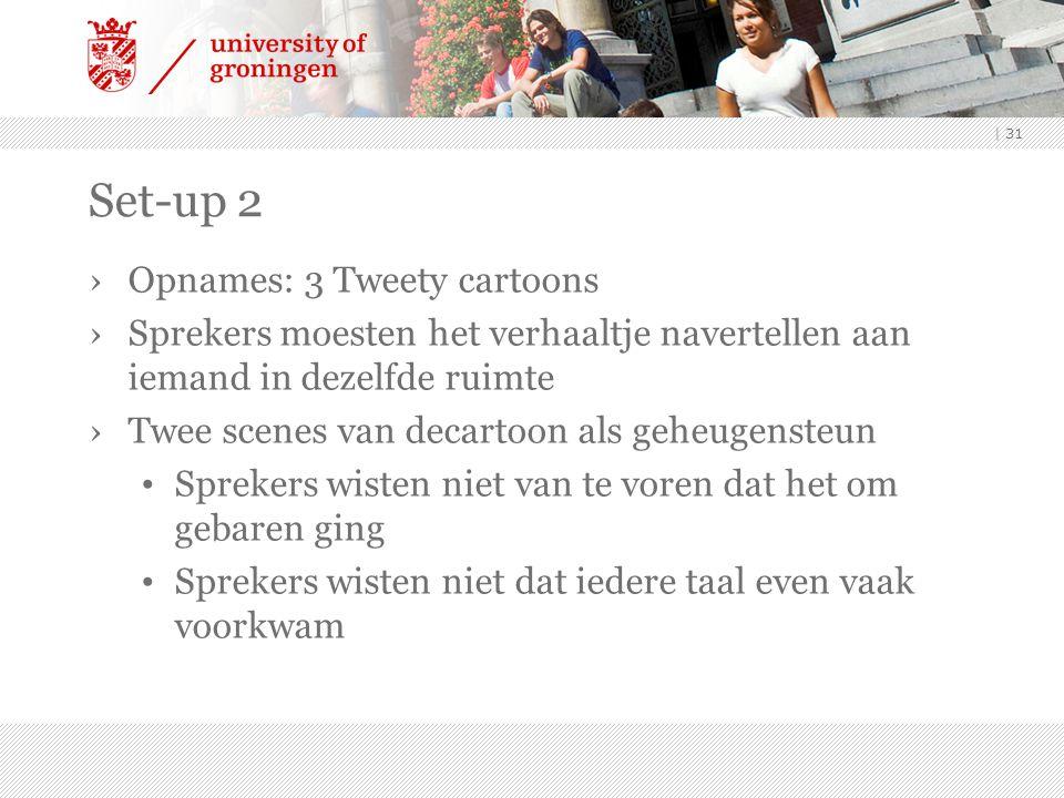 | 31 Set-up 2 ›Opnames: 3 Tweety cartoons ›Sprekers moesten het verhaaltje navertellen aan iemand in dezelfde ruimte ›Twee scenes van decartoon als ge