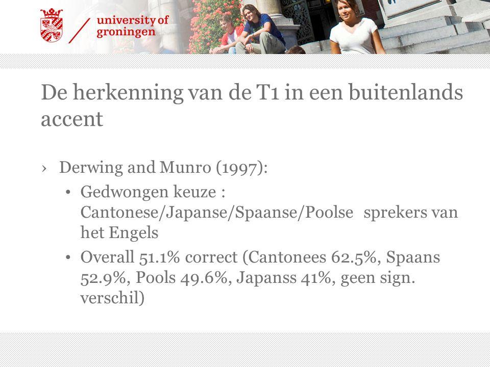 ›Derwing and Munro (1997): Gedwongen keuze : Cantonese/Japanse/Spaanse/Poolse sprekers van het Engels Overall 51.1% correct (Cantonees 62.5%, Spaans 5