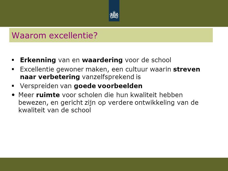 Waarom excellentie?  Erkenning van en waardering voor de school  Excellentie gewoner maken, een cultuur waarin streven naar verbetering vanzelfsprek
