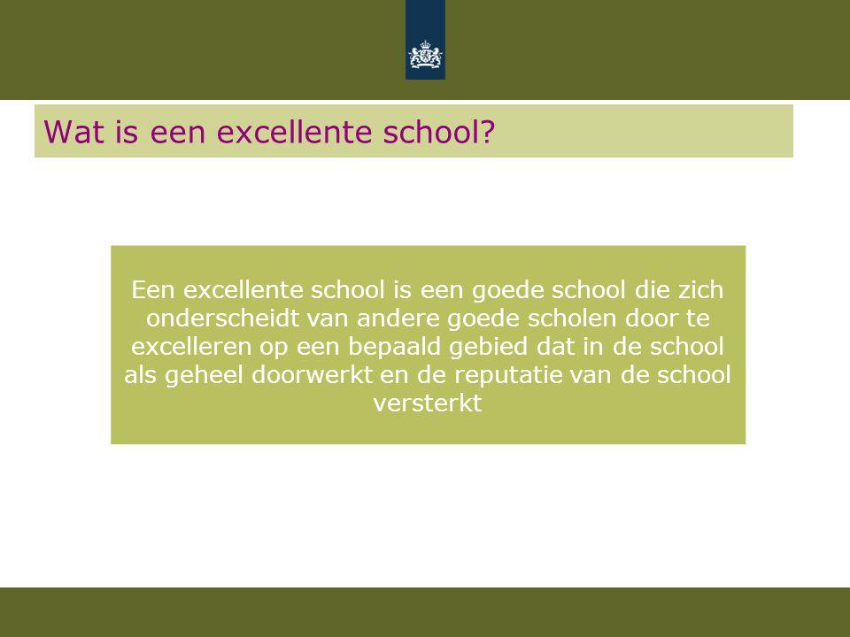 Wat is een excellente school? Een excellente school is een goede school die zich onderscheidt van andere goede scholen door te excelleren op een bepaa