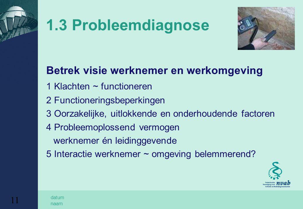 datum naam 11 1.3 Probleemdiagnose Betrek visie werknemer en werkomgeving 1 Klachten ~ functioneren 2 Functioneringsbeperkingen 3 Oorzakelijke, uitlok