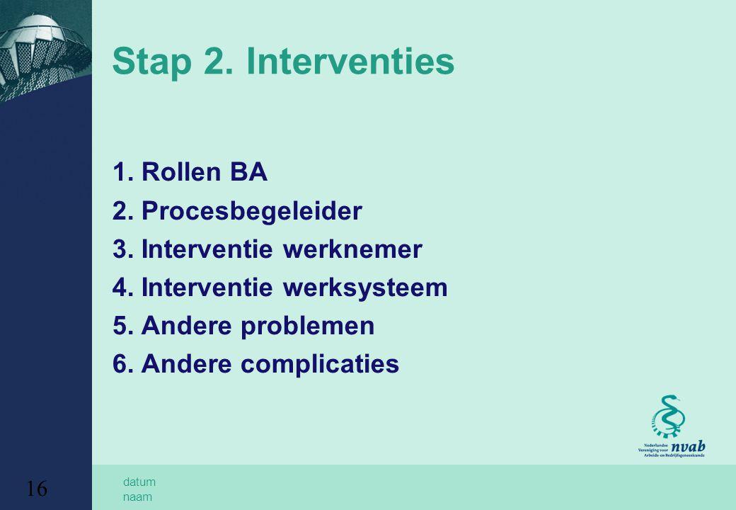 datum naam 16 Stap 2. Interventies 1. Rollen BA 2. Procesbegeleider 3. Interventie werknemer 4. Interventie werksysteem 5. Andere problemen 6. Andere