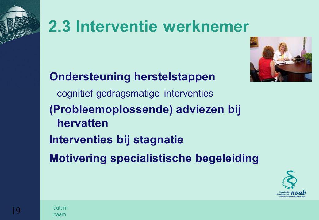 datum naam 19 2.3 Interventie werknemer Ondersteuning herstelstappen cognitief gedragsmatige interventies (Probleemoplossende) adviezen bij hervatten