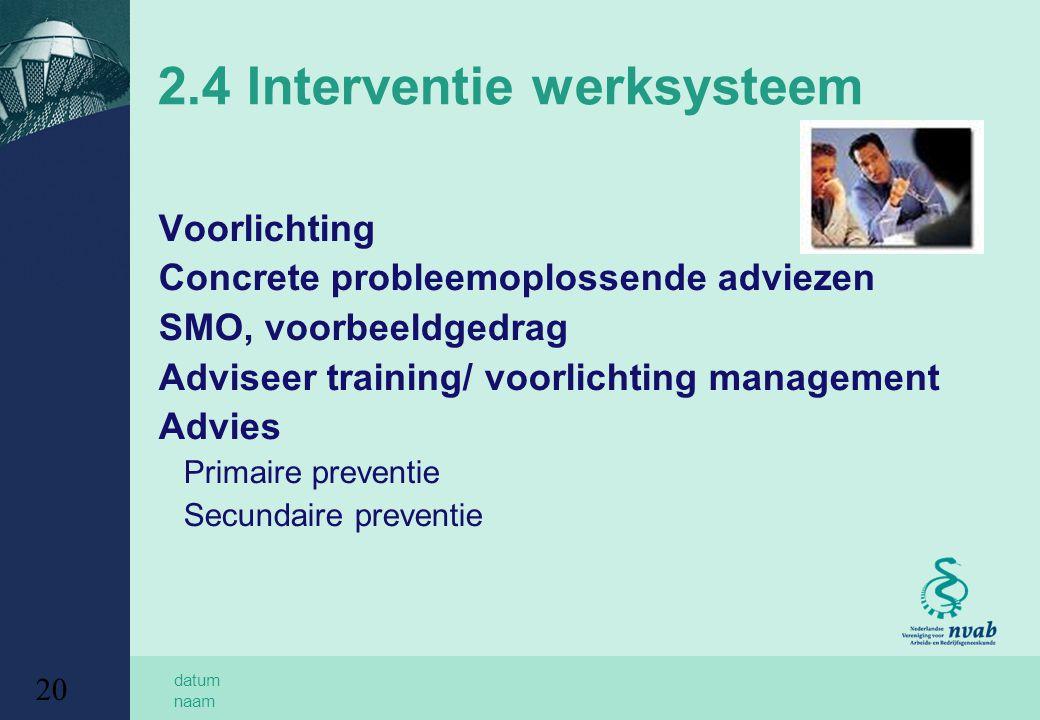 datum naam 20 2.4 Interventie werksysteem Voorlichting Concrete probleemoplossende adviezen SMO, voorbeeldgedrag Adviseer training/ voorlichting management Advies Primaire preventie Secundaire preventie