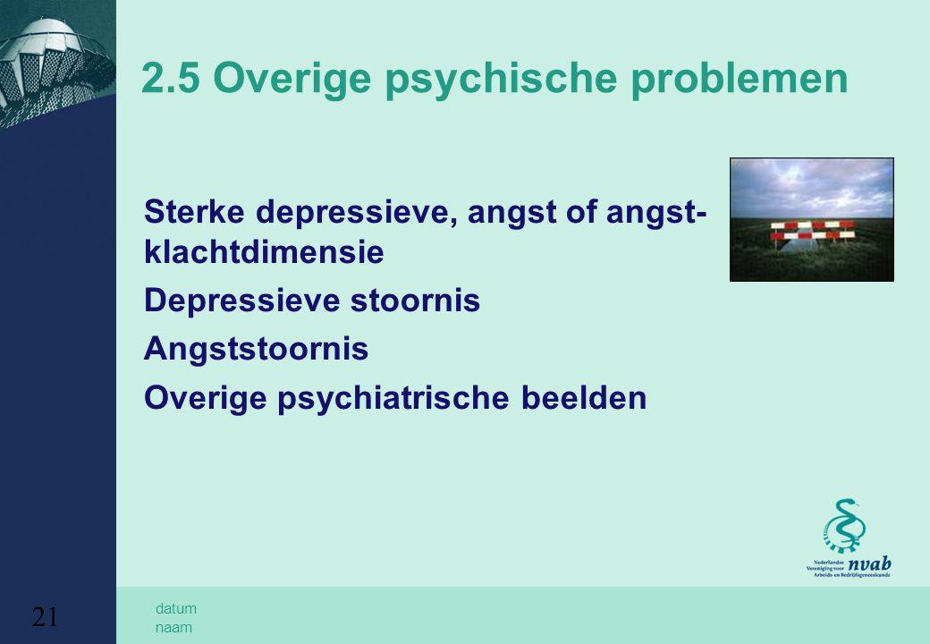 datum naam 21 2.5 Overige psychische problemen Sterke depressieve, angst of angst- klachtdimensie Depressieve stoornis Angststoornis Overige psychiatrische beelden