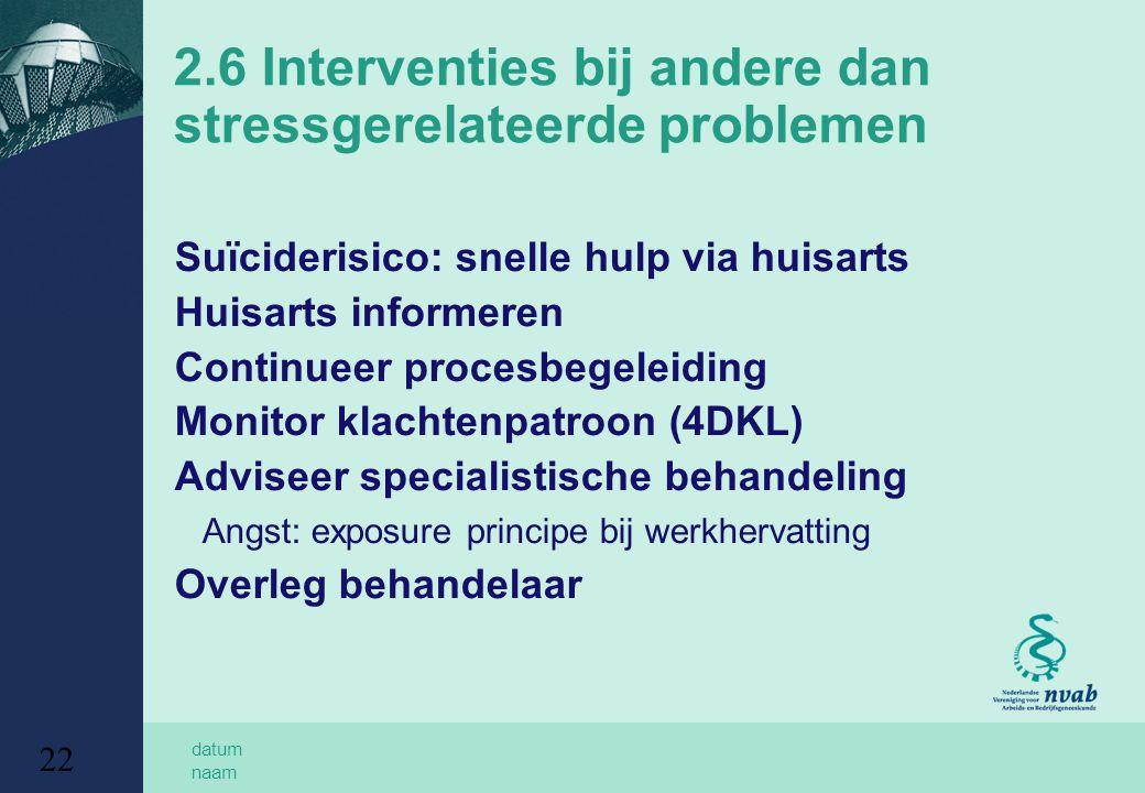datum naam 22 2.6 Interventies bij andere dan stressgerelateerde problemen Suïciderisico: snelle hulp via huisarts Huisarts informeren Continueer proc
