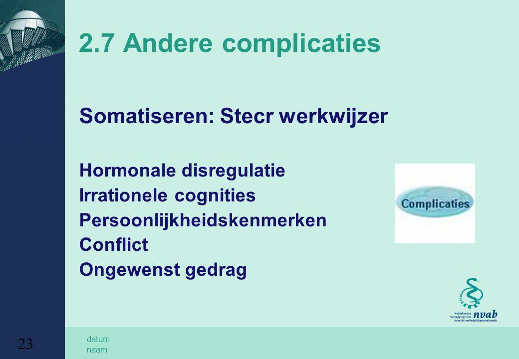 datum naam 23 2.7 Andere complicaties Somatiseren: Stecr werkwijzer Hormonale disregulatie Irrationele cognities Persoonlijkheidskenmerken Conflict On