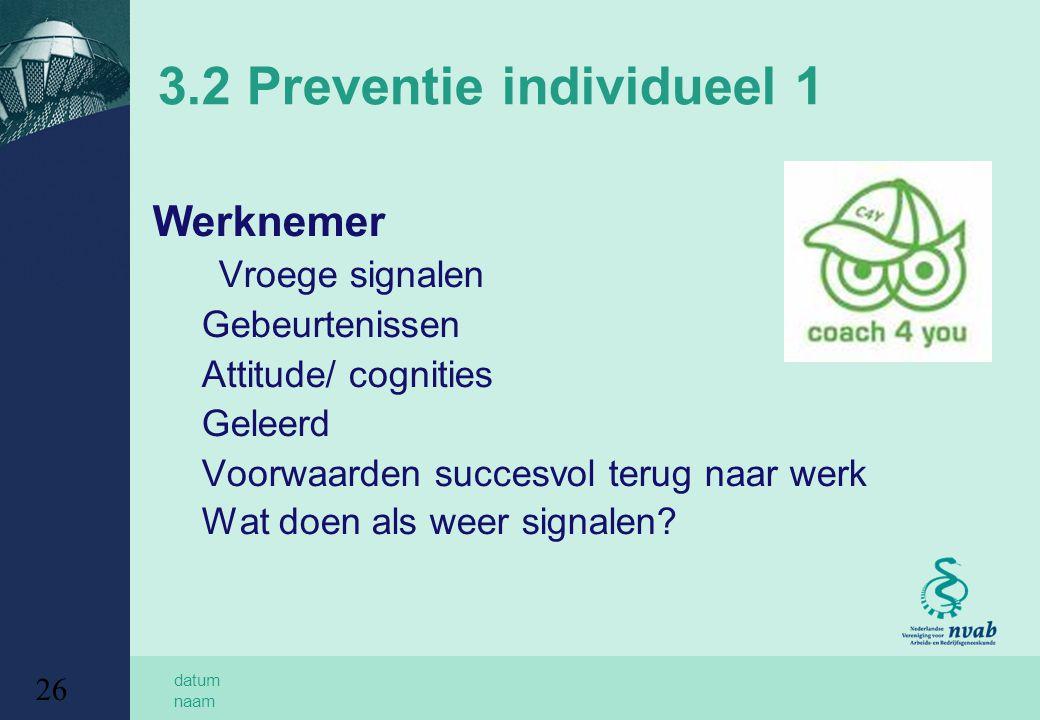 datum naam 26 3.2 Preventie individueel 1 Werknemer Vroege signalen Gebeurtenissen Attitude/ cognities Geleerd Voorwaarden succesvol terug naar werk W