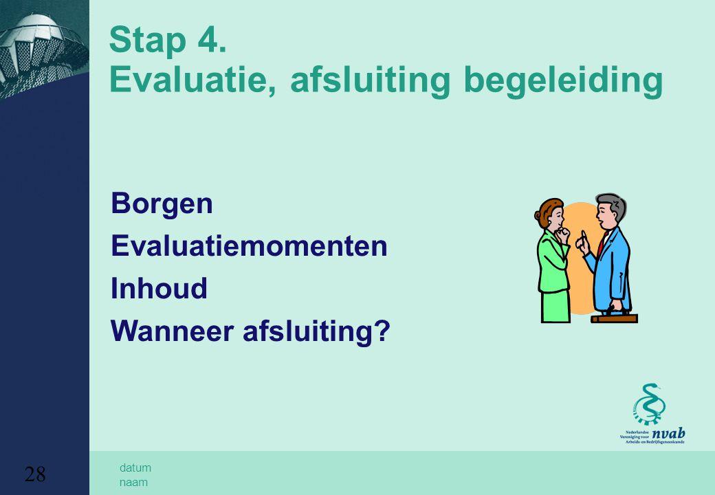 datum naam 28 Stap 4. Evaluatie, afsluiting begeleiding Borgen Evaluatiemomenten Inhoud Wanneer afsluiting?