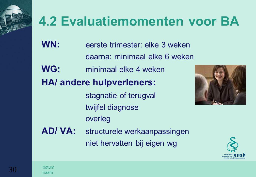 datum naam 30 4.2 Evaluatiemomenten voor BA WN: eerste trimester: elke 3 weken daarna: minimaal elke 6 weken WG: minimaal elke 4 weken HA/ andere hulpverleners: stagnatie of terugval twijfel diagnose overleg AD/ VA: structurele werkaanpassingen niet hervatten bij eigen wg