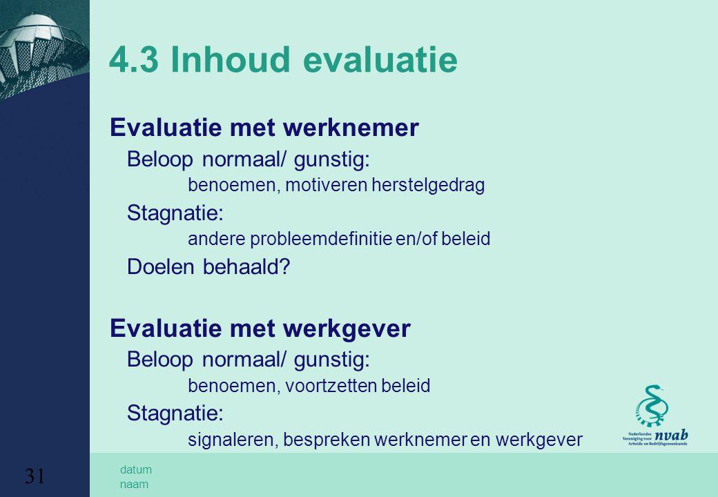 datum naam 31 4.3 Inhoud evaluatie Evaluatie met werknemer Beloop normaal/ gunstig: benoemen, motiveren herstelgedrag Stagnatie: andere probleemdefinitie en/of beleid Doelen behaald.