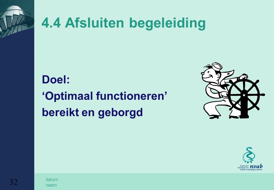 datum naam 32 4.4 Afsluiten begeleiding Doel: 'Optimaal functioneren' bereikt en geborgd