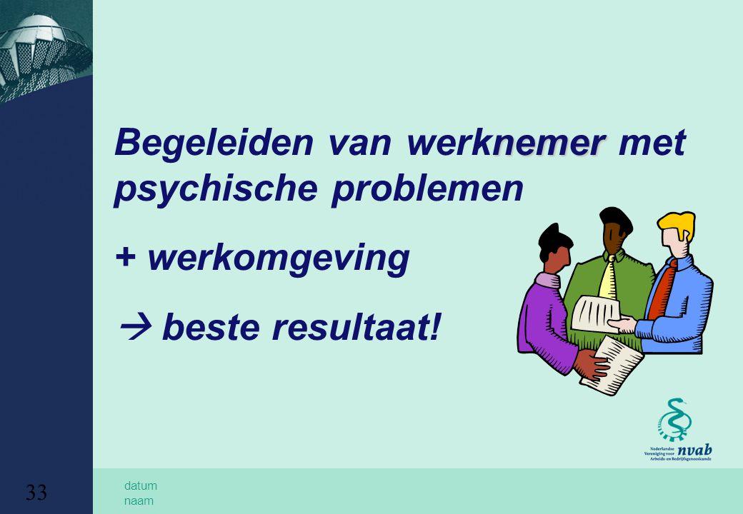 datum naam 33 nemer Begeleiden van werknemer met psychische problemen + werkomgeving  beste resultaat!
