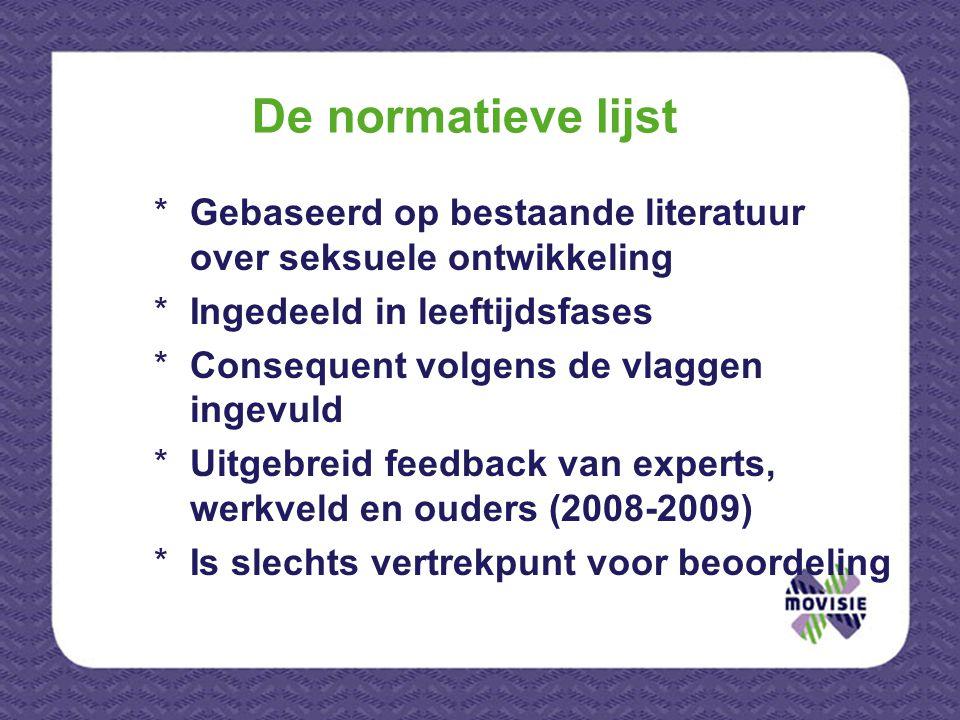 De normatieve lijst *Gebaseerd op bestaande literatuur over seksuele ontwikkeling *Ingedeeld in leeftijdsfases *Consequent volgens de vlaggen ingevuld