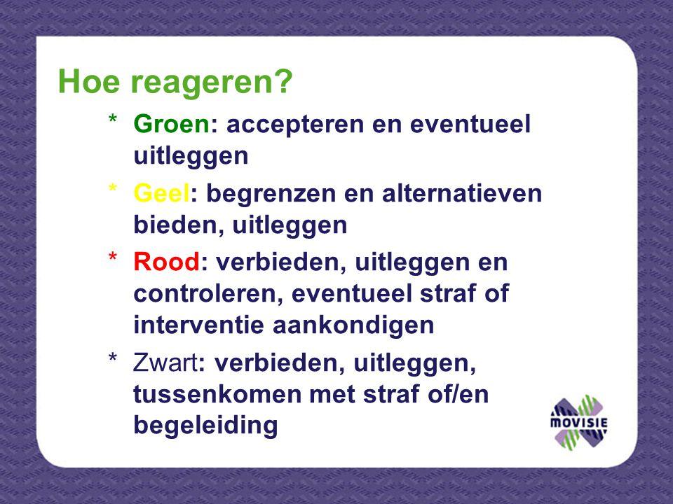 *Groen: accepteren en eventueel uitleggen *Geel: begrenzen en alternatieven bieden, uitleggen *Rood: verbieden, uitleggen en controleren, eventueel st