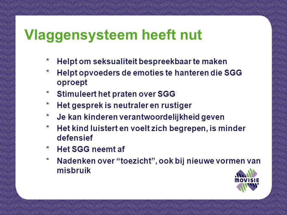Vlaggensysteem heeft nut *Helpt om seksualiteit bespreekbaar te maken *Helpt opvoeders de emoties te hanteren die SGG oproept *Stimuleert het praten o