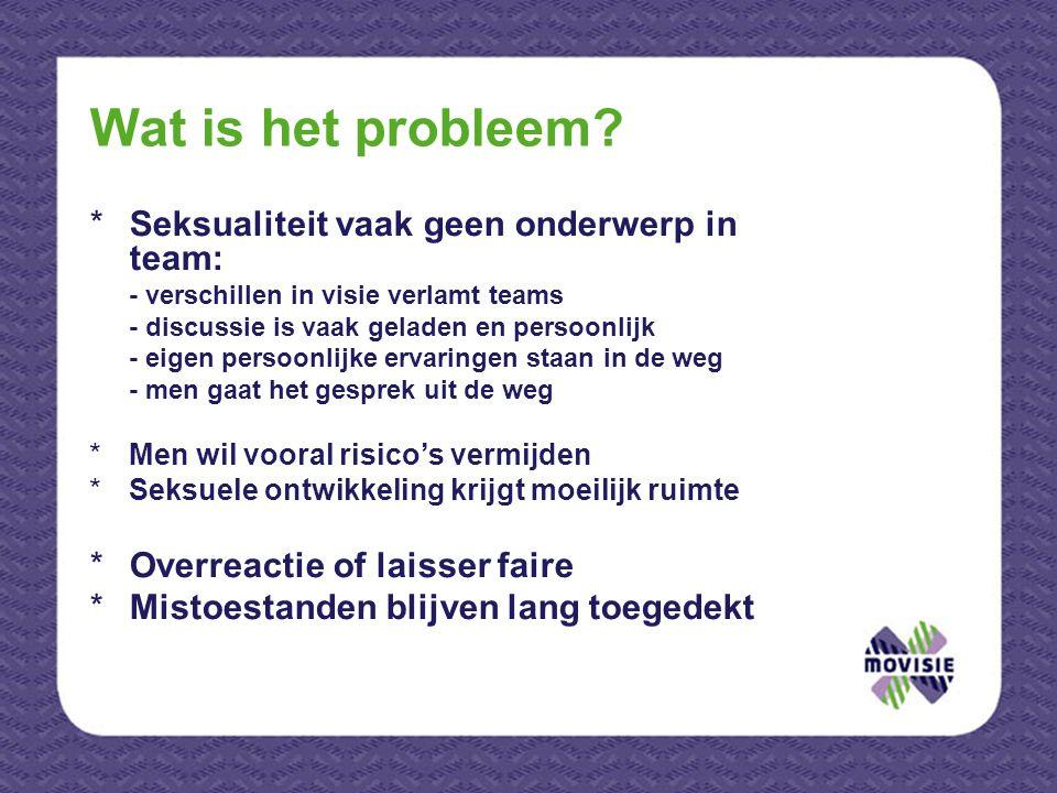 Wat is het probleem? *Seksualiteit vaak geen onderwerp in team: - verschillen in visie verlamt teams - discussie is vaak geladen en persoonlijk - eige