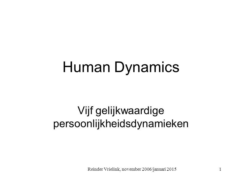 Reinder Vrielink, november 2006/januari 2015 Human Dynamics Vijf gelijkwaardige persoonlijkheidsdynamieken 1