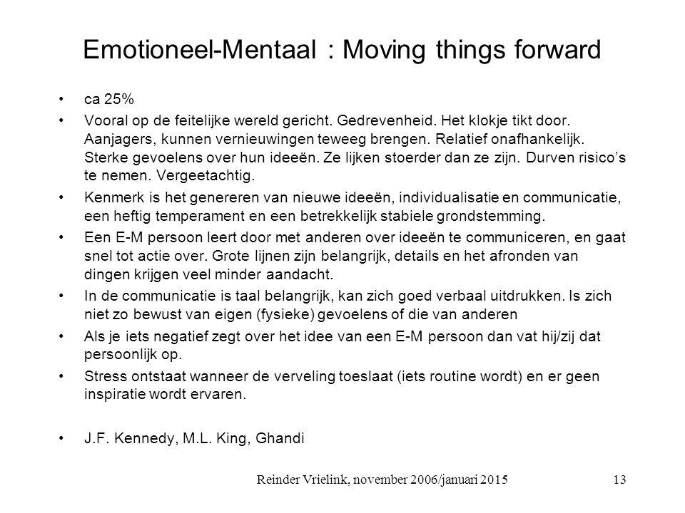 Reinder Vrielink, november 2006/januari 2015 Emotioneel-Mentaal : Moving things forward ca 25% Vooral op de feitelijke wereld gericht. Gedrevenheid. H