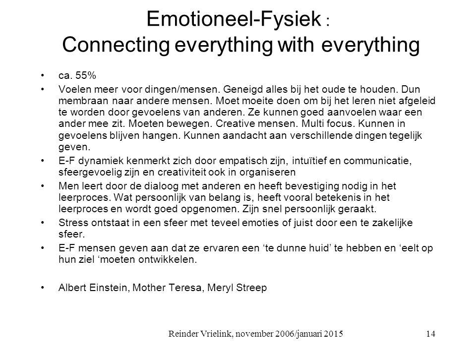 Reinder Vrielink, november 2006/januari 2015 Emotioneel-Fysiek : Connecting everything with everything ca. 55% Voelen meer voor dingen/mensen. Geneigd