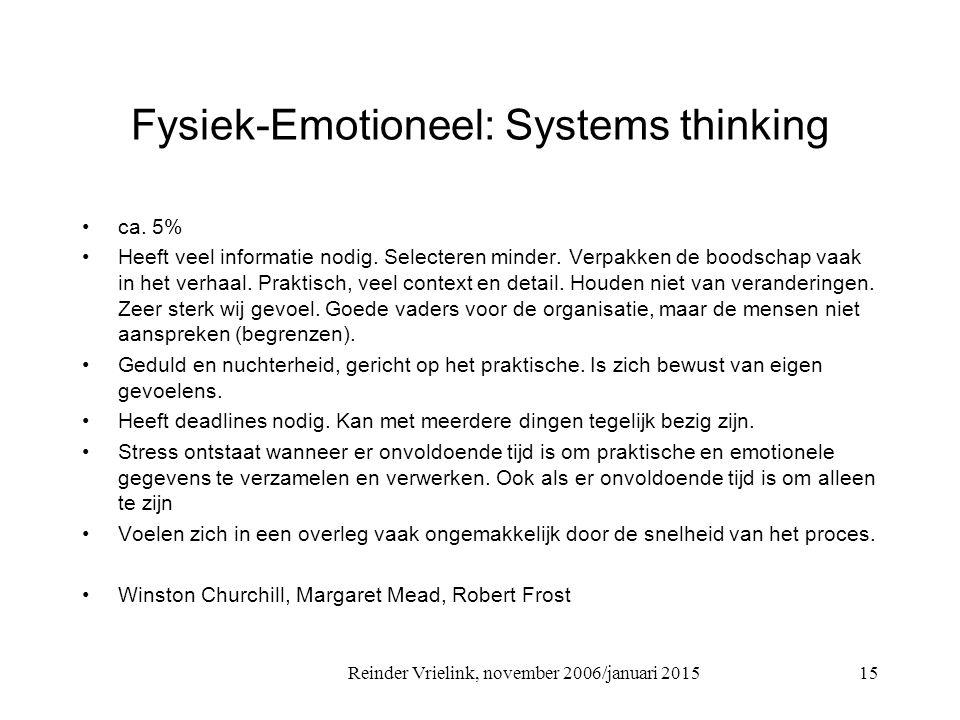 Reinder Vrielink, november 2006/januari 2015 Fysiek-Emotioneel: Systems thinking ca. 5% Heeft veel informatie nodig. Selecteren minder. Verpakken de b