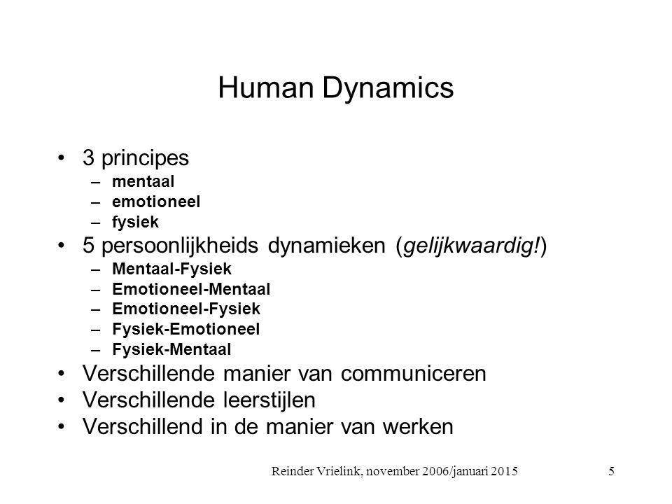 Reinder Vrielink, november 2006/januari 2015 Human Dynamics 3 principes –mentaal –emotioneel –fysiek 5 persoonlijkheids dynamieken (gelijkwaardig!) –Mentaal-Fysiek –Emotioneel-Mentaal –Emotioneel-Fysiek –Fysiek-Emotioneel –Fysiek-Mentaal Verschillende manier van communiceren Verschillende leerstijlen Verschillend in de manier van werken 5