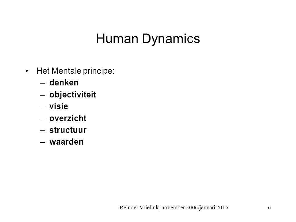 Reinder Vrielink, november 2006/januari 2015 Human Dynamics Het Emotionele principe: –voelen –subjectiviteit –relaties –communicatie –organisatie –creatieve inbeelding 7