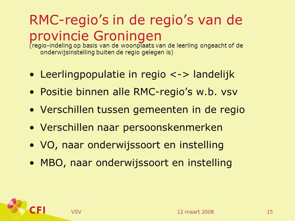 12 maart 2008VSV15 RMC-regio's in de regio's van de provincie Groningen (regio-indeling op basis van de woonplaats van de leerling ongeacht of de onderwijsinstelling buiten de regio gelegen is) Leerlingpopulatie in regio landelijk Positie binnen alle RMC-regio's w.b.