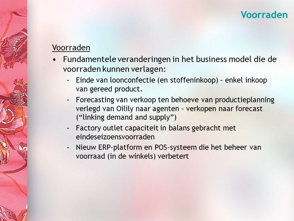 Organisation (3) Voorraden Fundamentele veranderingen in het business model die de voorraden kunnen verlagen: –Einde van loonconfectie (en stoffeninkoop) – enkel inkoop van gereed product.