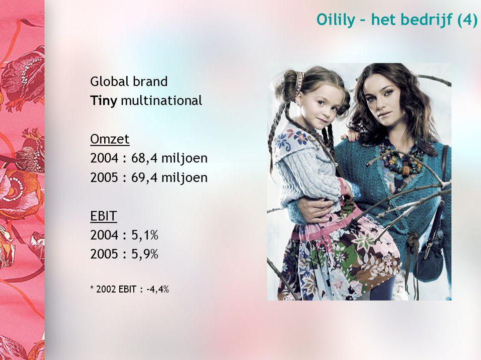 Organisation (3) Oilily – het bedrijf (4) Global brand Tiny multinational Omzet 2004 : 68,4 miljoen 2005 : 69,4 miljoen EBIT 2004 : 5,1% 2005 : 5,9% * 2002 EBIT : -4,4%