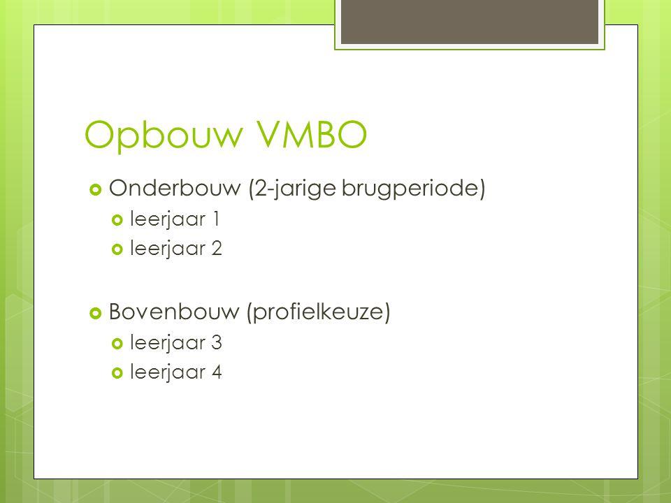 Opbouw VMBO  Onderbouw (2-jarige brugperiode)  leerjaar 1  leerjaar 2  Bovenbouw (profielkeuze)  leerjaar 3  leerjaar 4