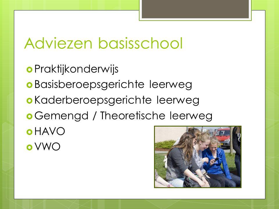 Adviezen basisschool  Praktijkonderwijs  Basisberoepsgerichte leerweg  Kaderberoepsgerichte leerweg  Gemengd / Theoretische leerweg  HAVO  VWO