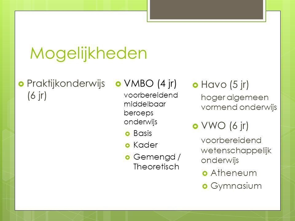 Mogelijkheden  VMBO (4 jr) voorbereidend middelbaar beroeps onderwijs  Basis  Kader  Gemengd / Theoretisch  Havo (5 jr) hoger algemeen vormend on