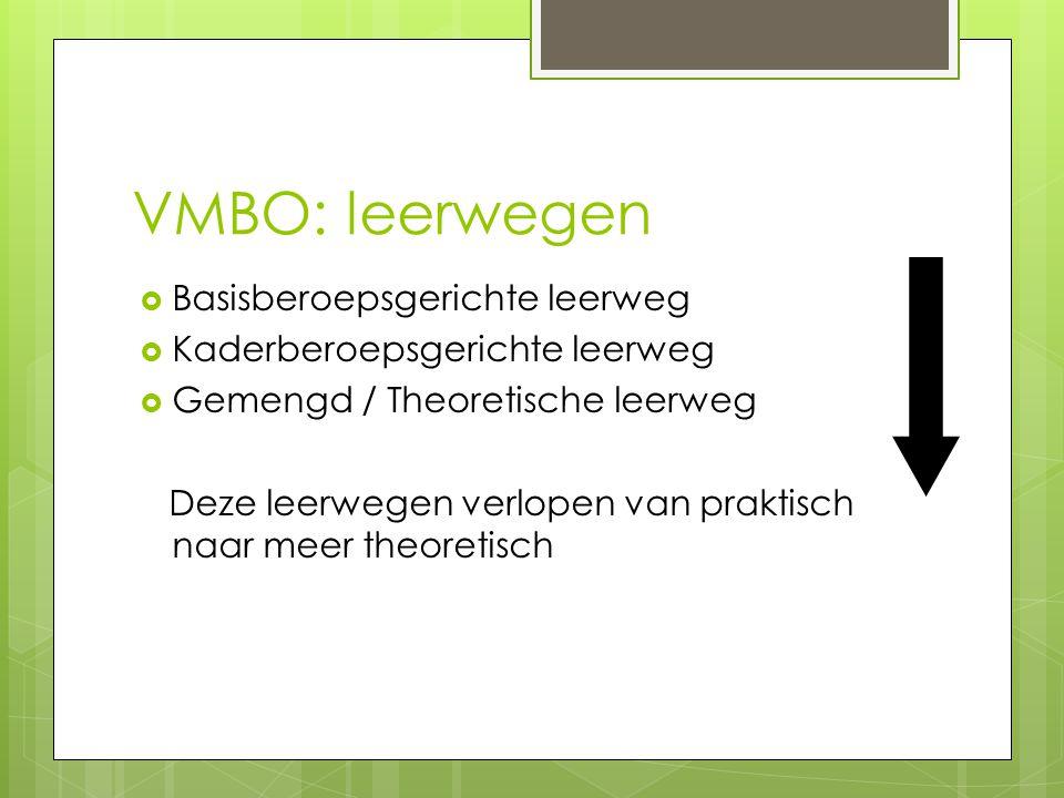 VMBO: leerwegen  Basisberoepsgerichte leerweg  Kaderberoepsgerichte leerweg  Gemengd / Theoretische leerweg Deze leerwegen verlopen van praktisch n