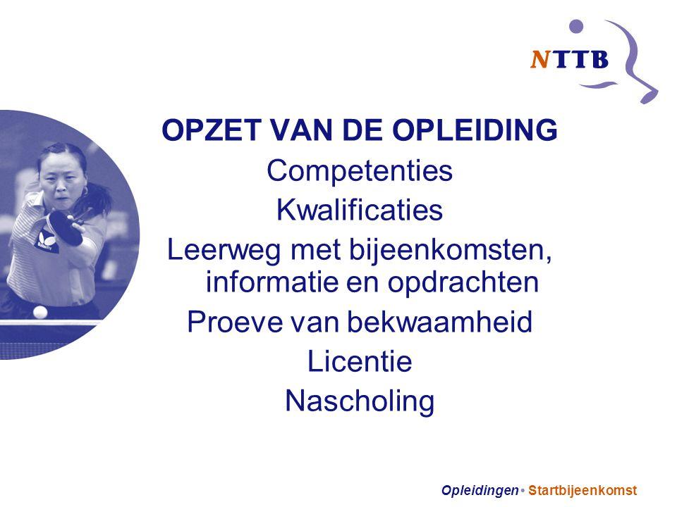 Opleidingen Startbijeenkomst OPZET VAN DE OPLEIDING Competenties Kwalificaties Leerweg met bijeenkomsten, informatie en opdrachten Proeve van bekwaamheid Licentie Nascholing