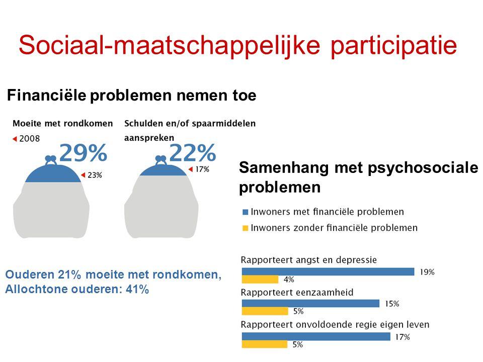 Sociaal-maatschappelijke participatie Aanzienlijk deel Utrechters eenzaam Allochtone ouderen: 13% Allochtone ouderen: 8% 22% 18%
