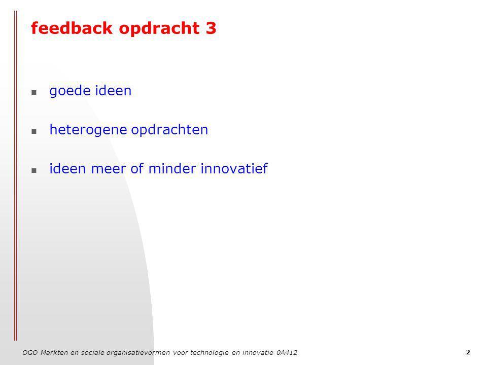OGO Markten en sociale organisatievormen voor technologie en innovatie 0A412 2 feedback opdracht 3 goede ideen heterogene opdrachten ideen meer of minder innovatief