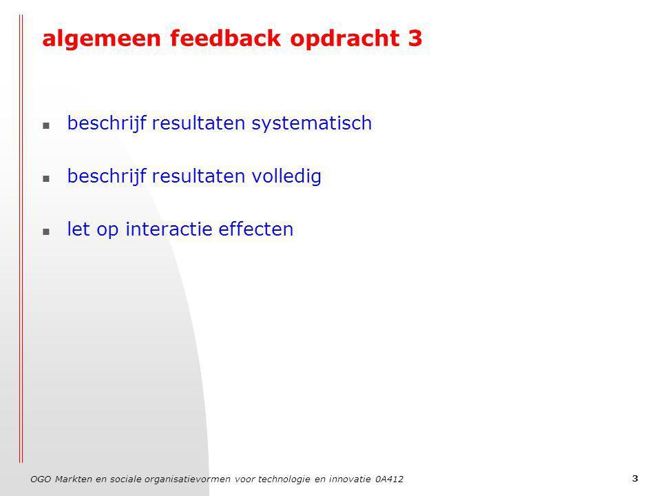 OGO Markten en sociale organisatievormen voor technologie en innovatie 0A412 4 Feedback opdracht 3: interactieeffecten