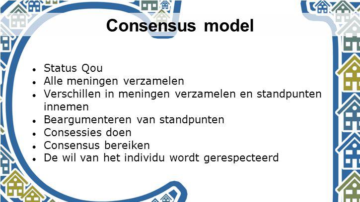 Consensus model Status Qou Alle meningen verzamelen Verschillen in meningen verzamelen en standpunten innemen Beargumenteren van standpunten Consessie