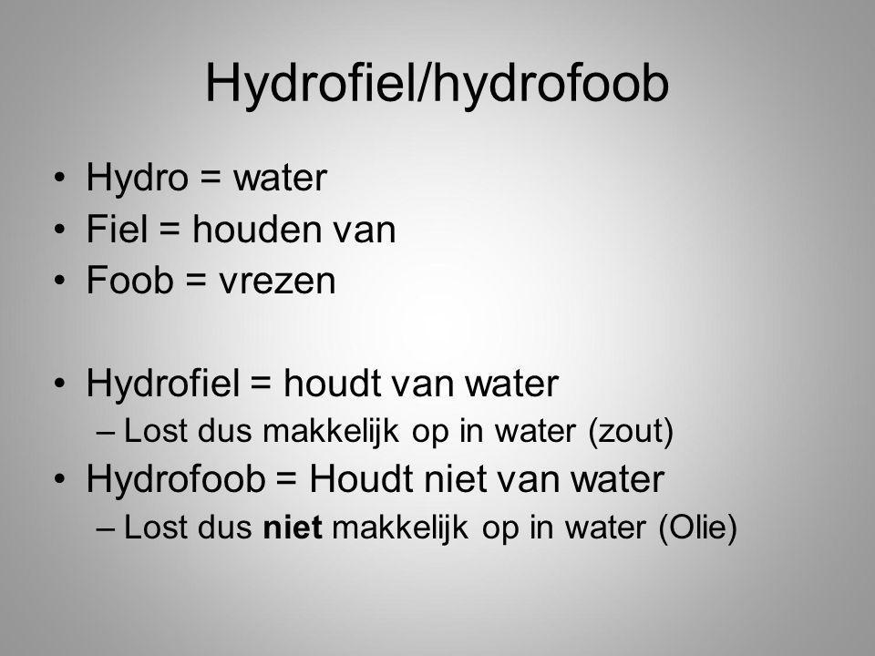 Hydrofiel/hydrofoob Hydro = water Fiel = houden van Foob = vrezen Hydrofiel = houdt van water –Lost dus makkelijk op in water (zout) Hydrofoob = Houdt niet van water –Lost dus niet makkelijk op in water (Olie)