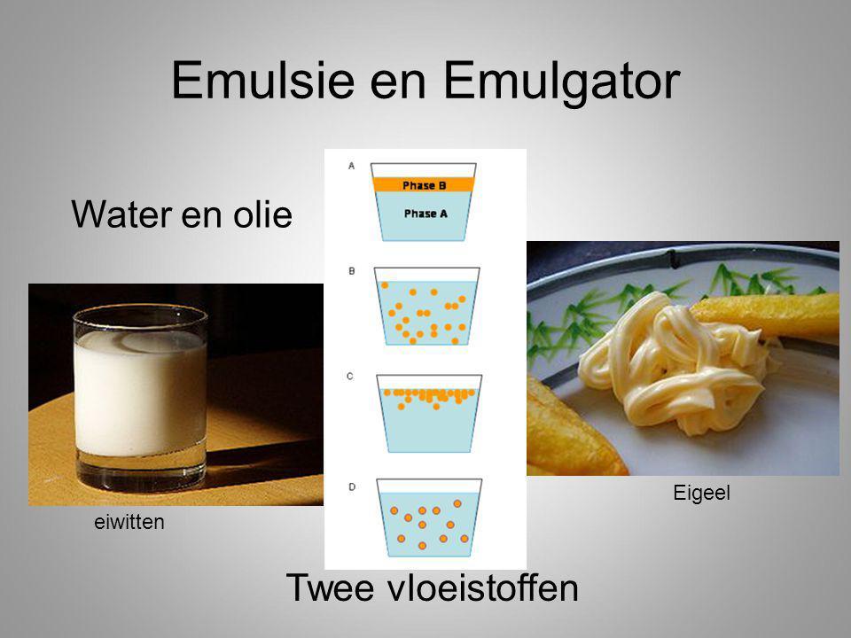Emulsie en Emulgator eiwitten Eigeel Twee vloeistoffen Water en olie