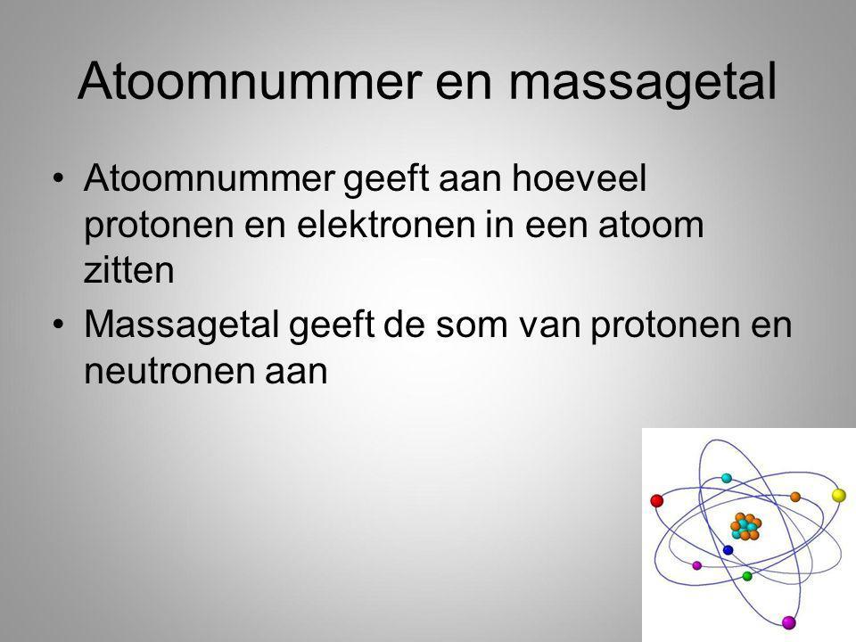 Atoomnummer en massagetal Atoomnummer geeft aan hoeveel protonen en elektronen in een atoom zitten Massagetal geeft de som van protonen en neutronen aan